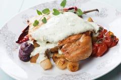 Chicken steak in gorgonzola sauce Royalty Free Stock Photo