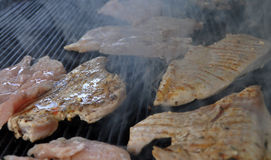 Chicken steak on a grill Stock Photography