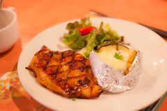 Chicken steak grilled of delicious bbq cooking for lunch and dinner Royalty Free Stock Photo