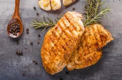 Chicken steak grilled Stock Photos