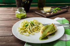 Chicken steak with home pesto Stock Images