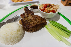 Chicken steak. And rice with papaya salad on dish royalty free stock images