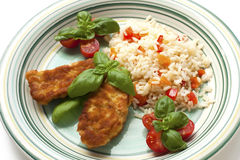 Chicken steak with rice and vegetables Stock Image
