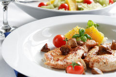 Chicken steak with salad Royalty Free Stock Image
