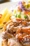 Chicken steak with salad Stock Photo