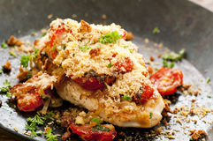 Chicken steak with salsa. Parmesan crust royalty free stock photo