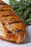 Chicken steak with spices grilled with green beans Royalty Free Stock Images
