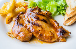 Chicken Steak with vegetables. Fast Food Royalty Free Stock Photo