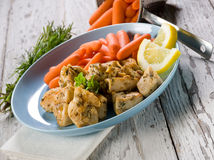 Chicken  stew with carrots Stock Image