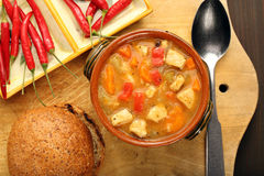 Chicken stew with hot chilli in bowl Royalty Free Stock Image