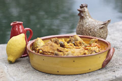 Chicken stew with lemon and olives. A healthy and simple recipe for chicken with olive oil Stock Photography