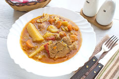 Chicken stew with potatoes in plate Stock Image