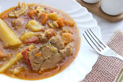 Chicken stew with potatoes in plate Stock Photography