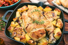 Chicken stew with potatoes and spices Royalty Free Stock Image