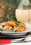 Chicken, stewed in tomato, wine and herb sauce. A typical recipe from Tuscany (Italy Stock Photo