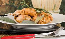 Chicken, stewed in tomato, wine and herb sauce. A typical recipe from Tuscany (Italy Royalty Free Stock Photography