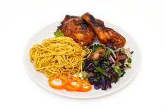 Chicken and stir fried noodles Stock Photo
