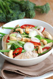 Chicken stir fry. Spicy chicken and vegetable stir-fry in a bowl Stock Photography