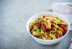 Chicken stir fry with peppers, sprouts, bok choy Royalty Free Stock Photography