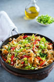 Chicken stir fry with peppers, sprouts, bok choy Stock Images