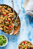 Chicken stir fry with peppers, sprouts, bok choy Stock Image