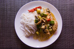 Chicken stir fry plate. Stir frying is a Chinese cooking technique in which ingredients are fried in a small amount of very hot oil while being stirred in a wok Royalty Free Stock Image