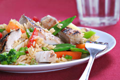 Chicken Stir Fry Rice. With Vegetables Royalty Free Stock Photography