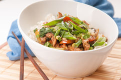 Chicken stir fry with rice Stock Photography