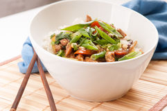 Chicken stir fry with rice Stock Photo