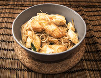 Chicken stir-fry. With thai rice noodles royalty free stock images
