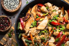 Chicken stir fry with   vegetables. Royalty Free Stock Photography