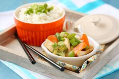 Chicken stir fry with vegetables and rice Stock Image