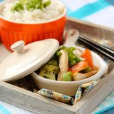Chicken stir fry with vegetables and rice Royalty Free Stock Image