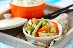 Chicken stir fry with vegetables and rice Stock Photography