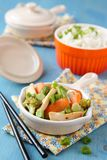 Chicken stir fry with vegetables and rice Royalty Free Stock Photography