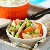 Chicken stir fry with vegetables and rice Royalty Free Stock Images