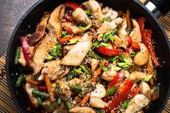 Chicken stir fry with   vegetables. Stock Photos