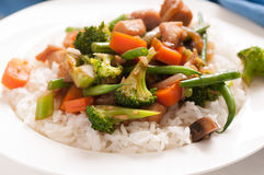 Chicken stir fry with vegetables Stock Photos
