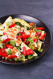 Chicken, strawberry, avocado and spinach salad with almonds. Stock Image