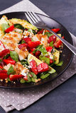 Chicken, strawberry, avocado and spinach salad with almonds. Stock Photo
