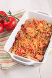 Chicken, string beans and tomatoes cheese casserole Royalty Free Stock Photography