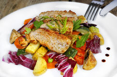 Chicken Stripes Dish. A chicken stripes dish served with vegetables like potatoes, fennel, zucchini and carrots Stock Photo