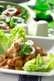 Chicken stripes with salad Royalty Free Stock Image