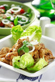 Chicken stripes with salad Royalty Free Stock Photography