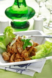 Chicken stripes with salad Royalty Free Stock Images