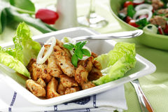 Chicken stripes with salad Stock Photo