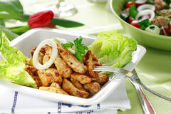 Chicken stripes with salad royalty free stock photos