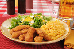Chicken strips and beer Royalty Free Stock Photography