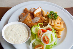 Chicken strips and fries combo Royalty Free Stock Photos