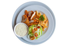 Chicken strips and fries combo on white background Stock Image